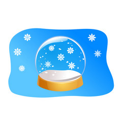 transparent snow globe empty glass sphere with vector image
