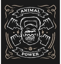 Two barbell and head gorilla weight vector