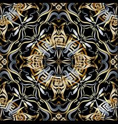 vintage greek floral 3d seamless pattern vector image