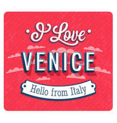 vintage greeting card from venice vector image