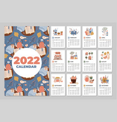 Wall calendar template 2022 yearly planner vector