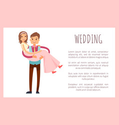 Wedding husband wife poster vector