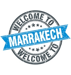 Welcome to marrakech blue round vintage stamp vector