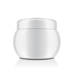 White plastic jar with cap for cosmetics closed vector