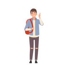 young man with backpack stands and smiles flat vector image