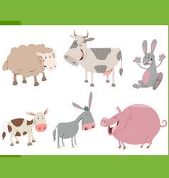 Cartoon farm animal characters set vector