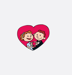 just married inside heart vector image