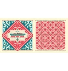 Retro wedding card by layered vector image