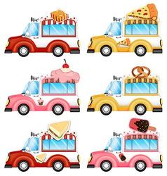 Vans selling foods vector image vector image