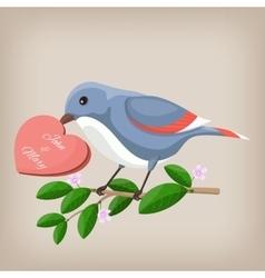 Bird holding heart wedding invitation vector image vector image