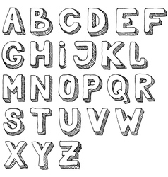 Hand drawn set of ABC letters Free-hand alphabet vector image vector image