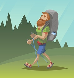 Man with red beard walk through the field vector image vector image