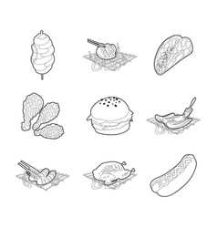 meat food icon set outline style vector image