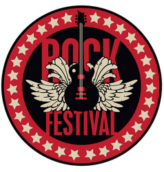 round emblem with the guitar for a rock festival vector image vector image