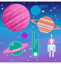 Set of flat cosmos and ufo elements with planet vector image vector image