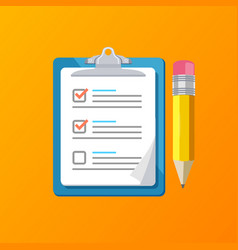 realistic detailed 3d claim form with a pencil vector image vector image