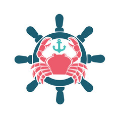seafood menu emblem with red crab and steering vector image