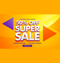 Super sale advertising banner template for vector