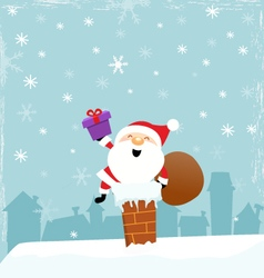 Cute Santa On Chimney vector image