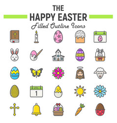 happy easter filled outline icon set holiday sign vector image