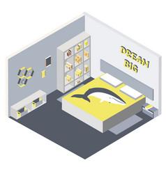 isometric of bedroom flat 3d vector image