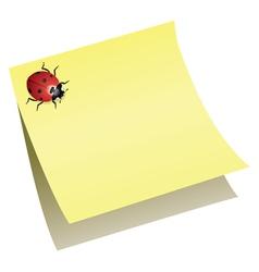 ladybird on paper note vector image vector image