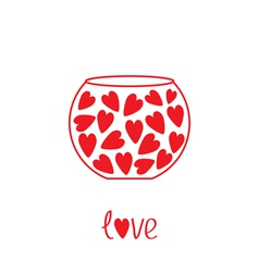 Round vase with hearts Love card vector image
