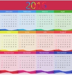 2016 Calendar New Year vector image