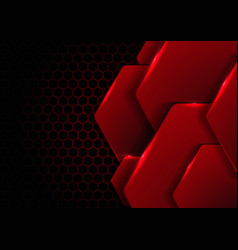 Abstract black and red metallic hexagon with vector