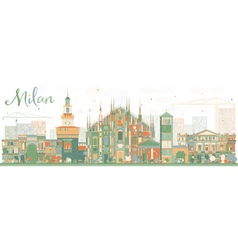 Abstract Milan Skyline with Color Landmarks vector image