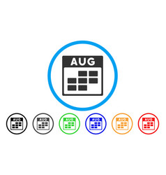 august calendar grid rounded icon vector image