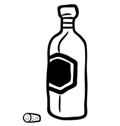 black and white bottle vector image