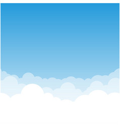 Blue gradient sky and clouds vector
