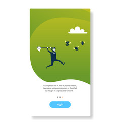 businessman catching dollar coins with butterfly vector image