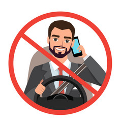 Businessman driving a car talking on the phone vector
