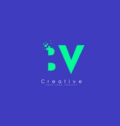 Bv letter logo design with negative space concept vector