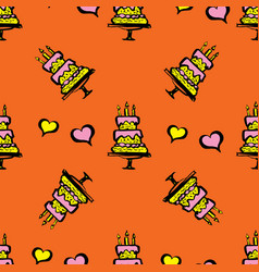 cake and hearts seamless pattern vector image