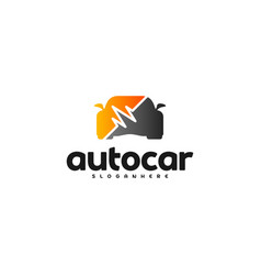 car pulse logo template car repair logo design vector image
