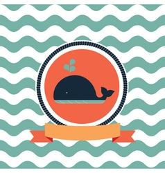 Card of the sea whale vector