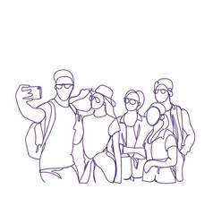 casual group of young people taking selfie photo vector image