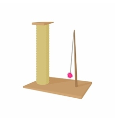 Cat scratching post icon cartoon style vector