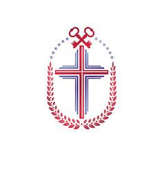 Christian cross decorative emblem composed vector