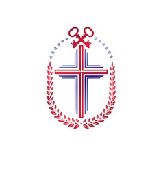 Christian cross decorative emblem composed with vector