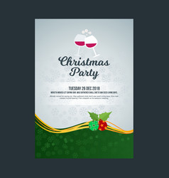 Christmas party invitation poster with wine vector