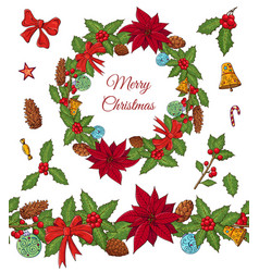 christmas set with festive elements vector image