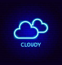 cloudy neon label vector image