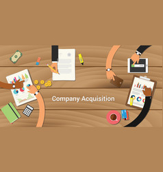 Company acquisition team work together with a vector