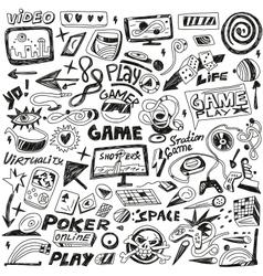 computers games - doodles set vector image