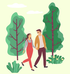 Couple walking in forest girl and guy in love vector