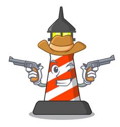Cowboy lighthouse character cartoon style vector